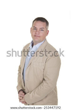 Handsome man wearing business casual isolated on white - stock photo