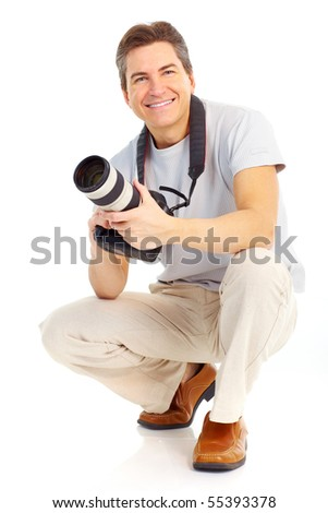 Handsome man with a photo camera. Isolated over white background - stock photo