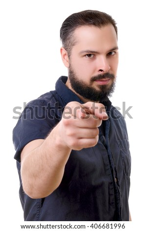 handsome man with beard showing gesture isolated on white background - stock photo