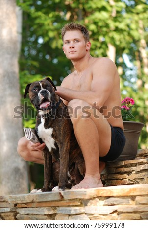 Handsome Man with Boxer Dog