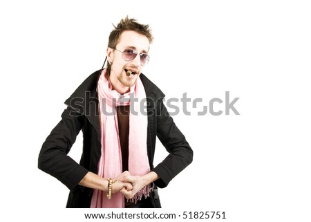handsome man with cigar - stock photo
