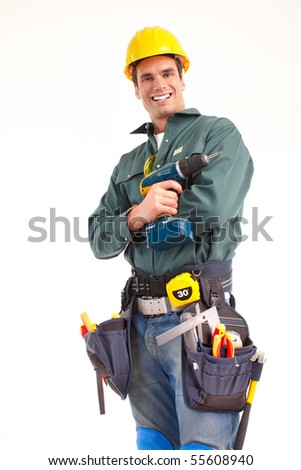 Handsome man with cordless hand drill. Isolated over white background - stock photo