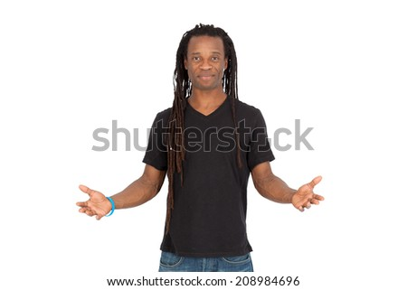 Handsome man with dreadlocks doing different expressions in different sets of clothes: welcome sign - stock photo