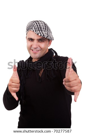 handsome man with his hands rise up as a sign of everything cool, isolated on white background - stock photo