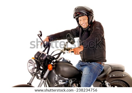 handsome man with his motorcycle isolated in white - stock photo