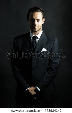 Handsome Man Unshaven Face Hairstyle Black Stock Photo Royalty Free
