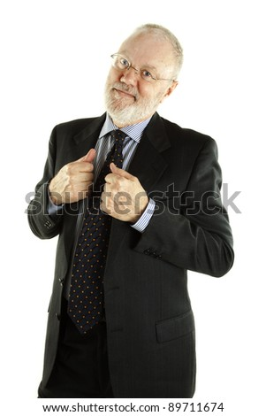 Handsome mature business man posing on white background