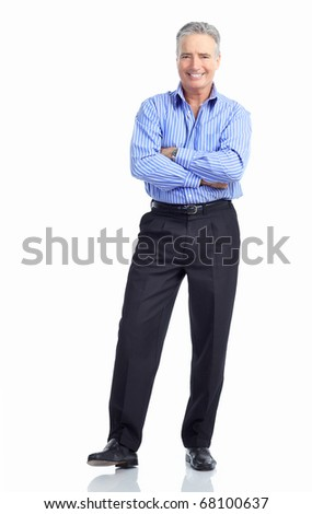Handsome mature  businessman. Isolated over white background - stock photo
