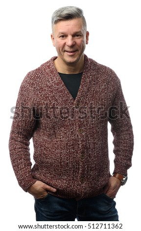 Handsome mid age men in casual clothes posing in studio. Isolated