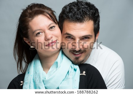 Handsome middle age male with attractive woman lovers - stock photo