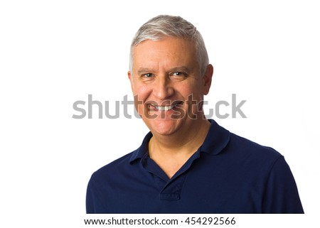 Handsome middle age man portrait with a white background.