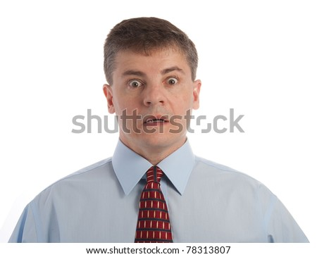 Handsome middle age successful businessman is shocked - stock photo