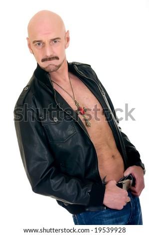 Handsome middle aged bald man with leather jacket, alternative lifestyle, studio shot, white background - stock photo