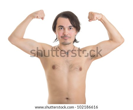 Handsome middle aged man flexing his muscles, isolated on white background