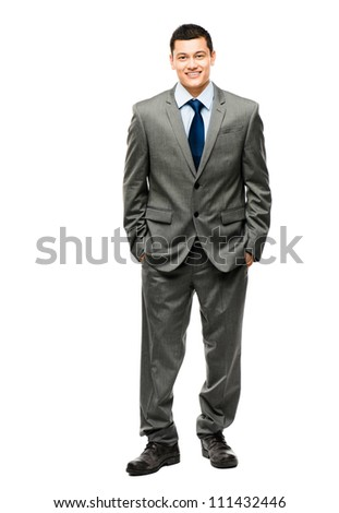 Handsome mixed race businessman standing full length isolated on white background - stock photo