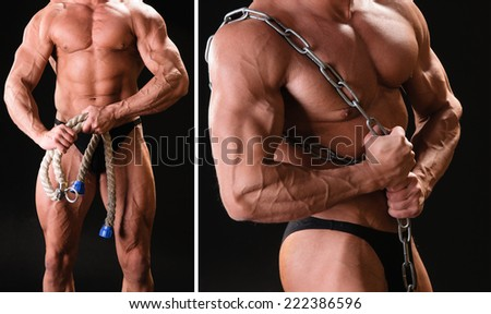 Handsome muscular bodybuilder with rope and chain posing over black background - stock photo