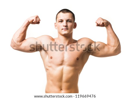 Handsome muscular man isolated on white background - stock photo