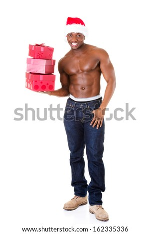 Handsome nude man holding gifts and holding santa hat. Isolated on white.  - stock photo