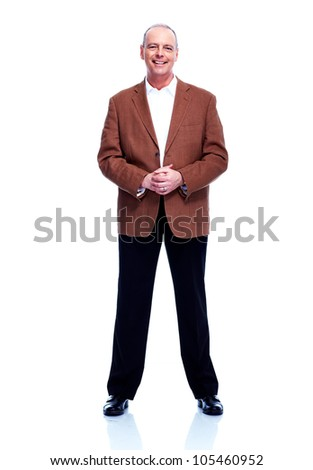 Handsome older man. Isolated on white background. - stock photo