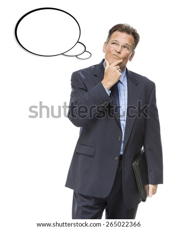 Handsome Pensive Businessman With Hand on Chin Looking Up At Blank Thought Bubble On White. - stock photo