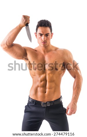 Handsome power athletic guy posing with knife isolated in white background