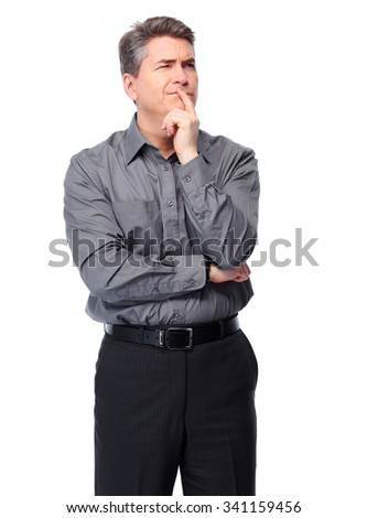 Handsome serious businessman. Isolated over white background.  - stock photo