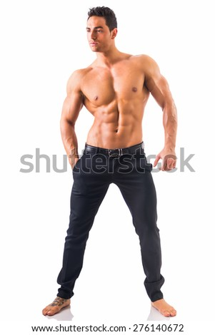 Handsome shirtless muscular man with elegant pants, standing, isolated on white background, full length shot - stock photo