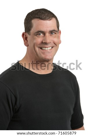 Handsome smiling adult man on white background - stock photo