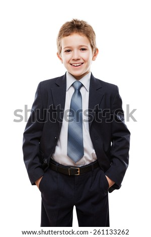 Handsome smiling child boy in business suit white isolated - stock photo