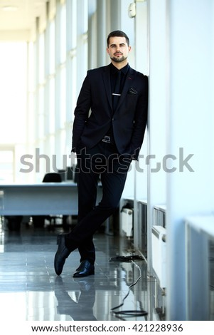Handsome smiling confident businessman portrait - stock photo