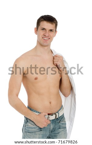 Handsome smiling guy with shirtless in jeans. - stock photo