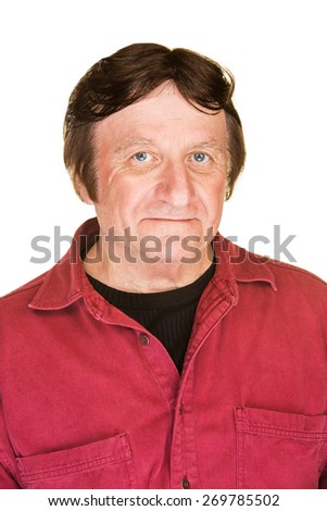 Handsome smiling middle aged male over white background