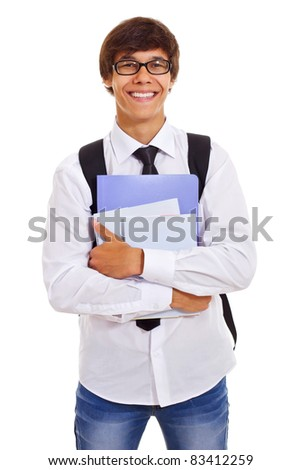 Handsome smiling student in white shirt and tie holding folders and books isolated on white background. Mask included - stock photo