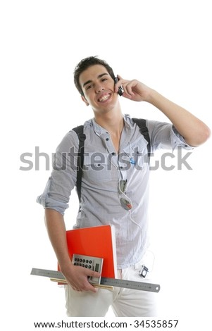 Handsome student talking mobile cell phone isolated on white - stock photo