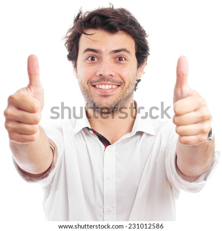 handsome successful man doing a positive gesture - stock photo