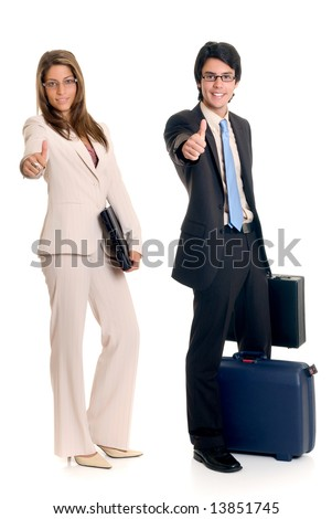 Handsome successful young business people, joyful expression, giving okay gesture, studio shot. - stock photo