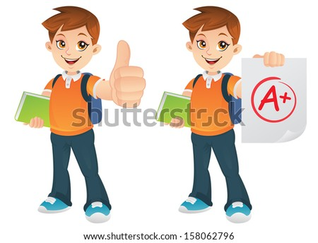 Handsome Teenage boy showing a Good Thumbs Up gesture for Good grades - stock photo