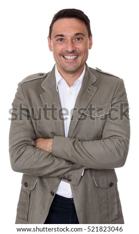 handsome trendy guy looking at camera. Isolated on white background