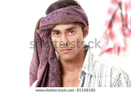 Handsome villager from north indian subcontinent - stock photo