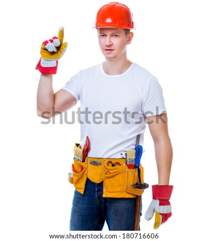 handsome worker man in a helmet isolated