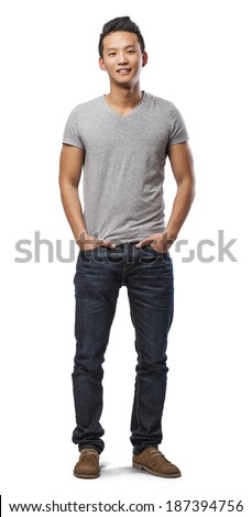 handsome young asian man standing over white - stock photo