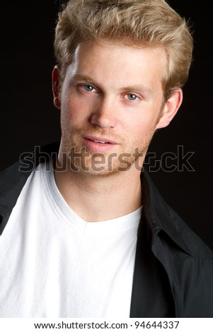 Handsome young blond man portrait