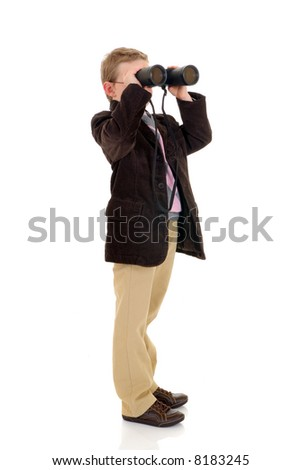 Handsome young boy, child  with binoculars, white background, studio shot