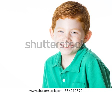 Handsome young boy isolated on white portrait - stock photo