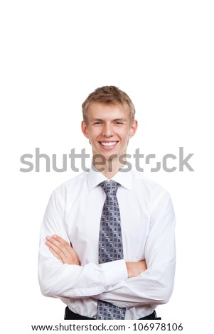 Handsome young business man happy smile, businessman wear white shirt and tie standing folded hands isolated over white background - stock photo