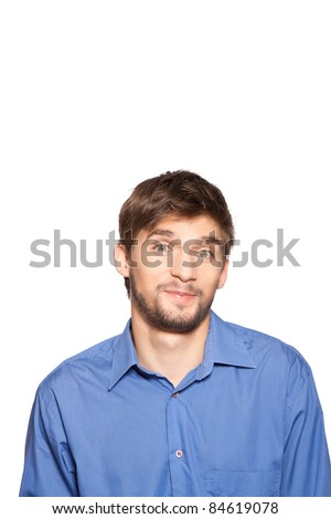 Handsome young business man happy smile doubt, isolated over white background. series of portrait photos. - stock photo