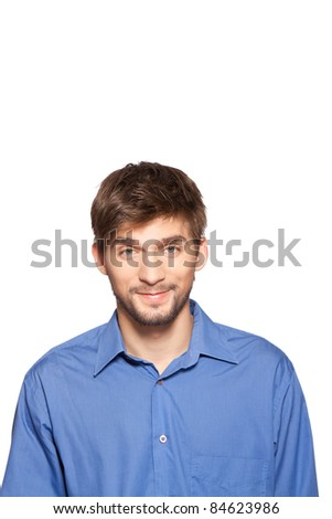 Handsome young business man happy smile, isolated over white background. series of portrait photos.