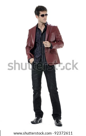 Handsome young businessman in sunglasses. Full body isolated - stock photo
