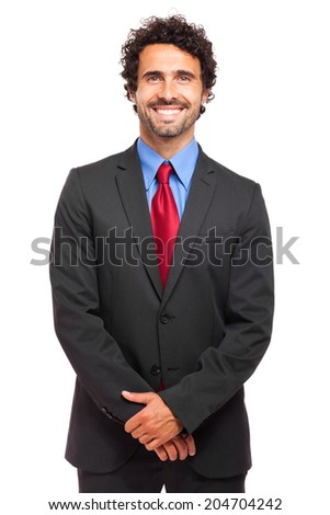 Handsome young businessman isolated on white  - stock photo