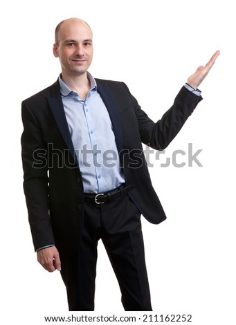 handsome young businessman pointing to copy paste. Isolated - stock photo
